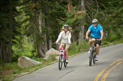 Couple riding Optibikes onroad in a forested area