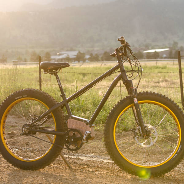 SIMBB Fat Tire E-Bike with mountain sunset in the background