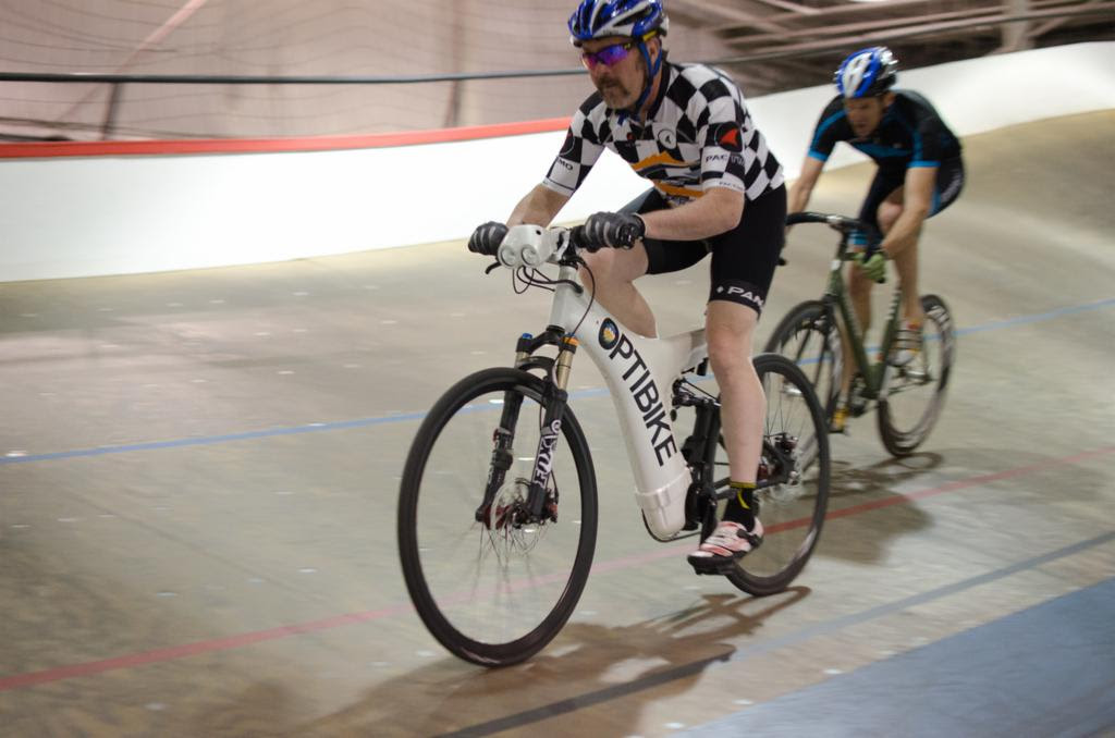 Velodrome Pacer Tim Kyer on an Optibike Electric Bike in the Boulder, CO Velodrome racing track