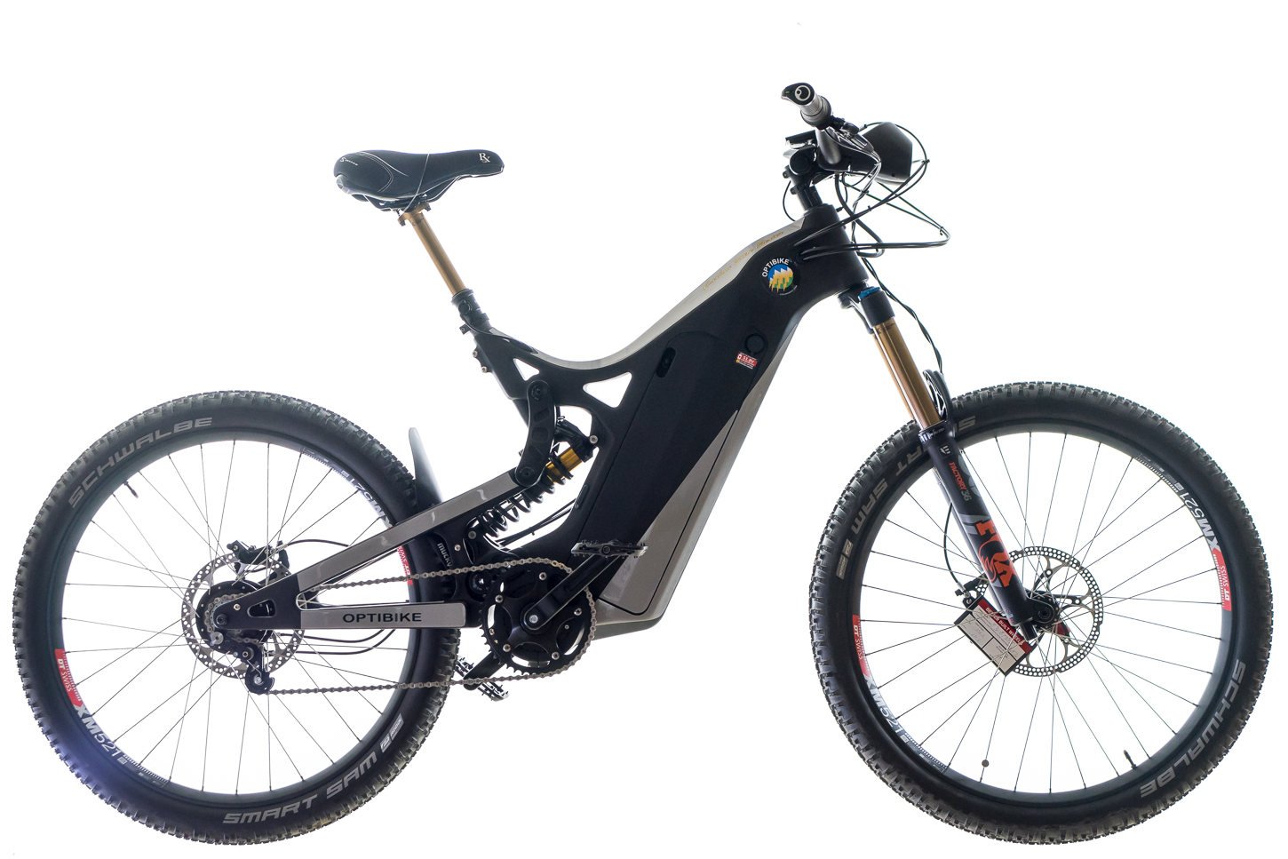 Optibike R15C Electric Mountain Bike, Black and Silver Color