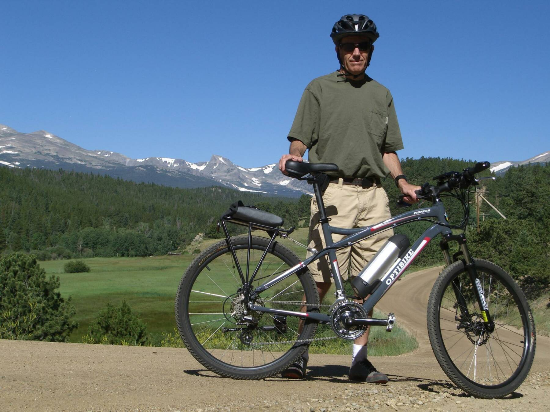 Bob Goddard with his Optibike in the Mountains