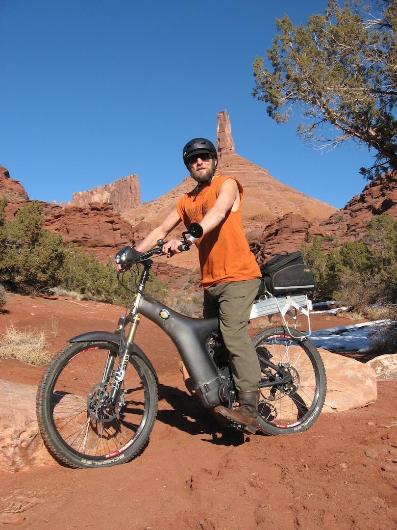Bob Lippman in Moab with his Optibike R series